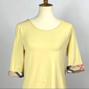 Burberry 3/4 Sleeve Yellow Top Nova Check Pattern